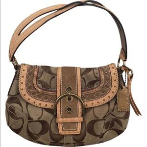 Coach Limited Edition Signature Studded Flap Hobo